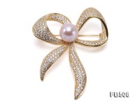 Beautiful Bowknot-shape 9.5x12mm Lavender Pearl Brooch