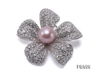 Bright Zircon Flower Brooch with 13mm Lavender Edison Pearl