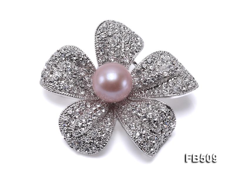 Bright Zircon Flower Brooch with 13mm Lavender Edison Pearl