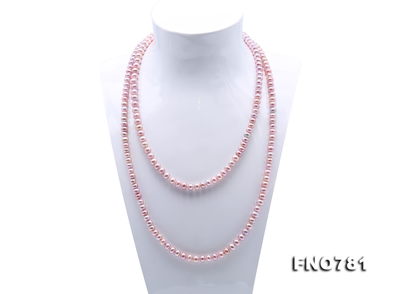 High Quality 6-7mm Lavender Pearl Long Necklace