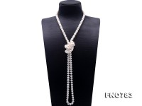 High Quality 9-10mm White Pearl Long Necklace