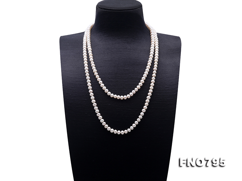 Classical 7-8mm White Pearl Long Necklace