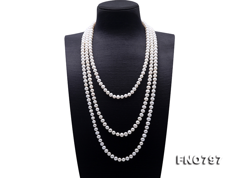 High Quality Super Long 7-8mm White Pearl Necklace