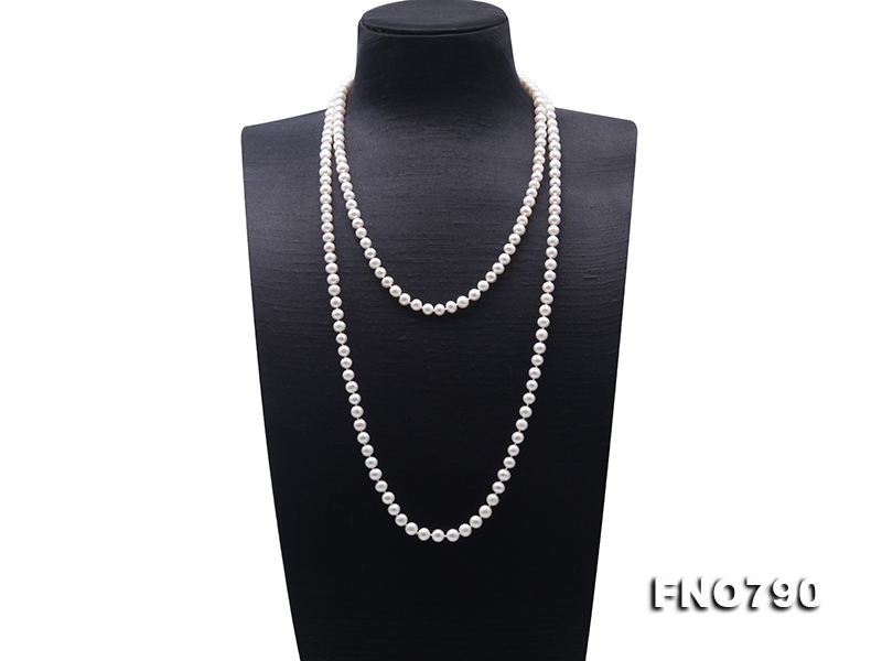 High Quality 7-8mm White Pearl Long Necklace