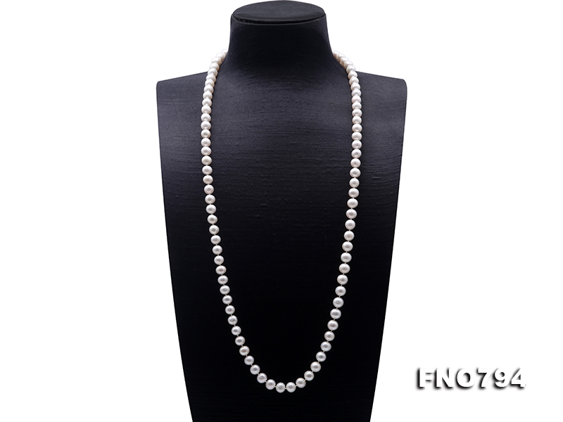 Classical 9-10mm White Pearl Long Necklace