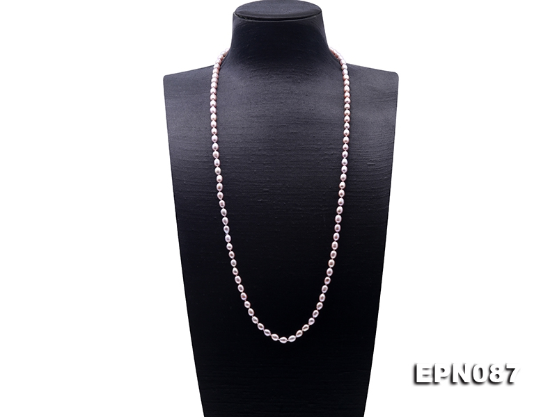Classical 6-6.5mm Lavender Oval Pearl Long Necklace