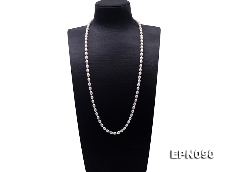 Classical 7-8mm White Oval Pearl Long Necklace