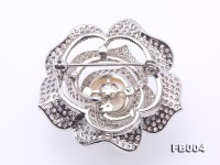High Quality 13mm White Pearl Rose Brooch