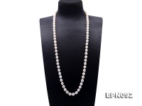 Classical 9-10mm White Oval Pearl Long Necklace