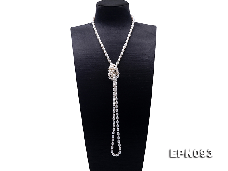 Classical 6-6.5mm White Oval Pearl Long Necklace