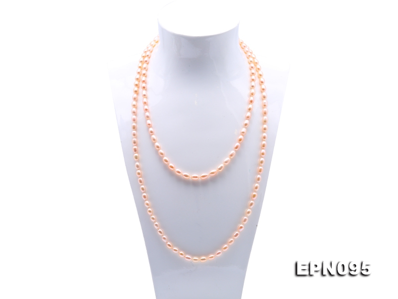 Classical 7-8mm Pink Oval Pearl Long Necklace