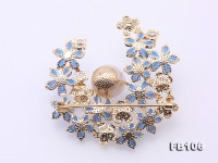 Blue Zircon Flower Brooch with 12mm White Edison Pearl
