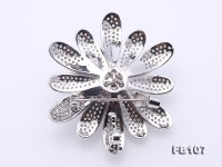 Bright Zircon Flower Brooch with 12mm Lavender Edison Pearl