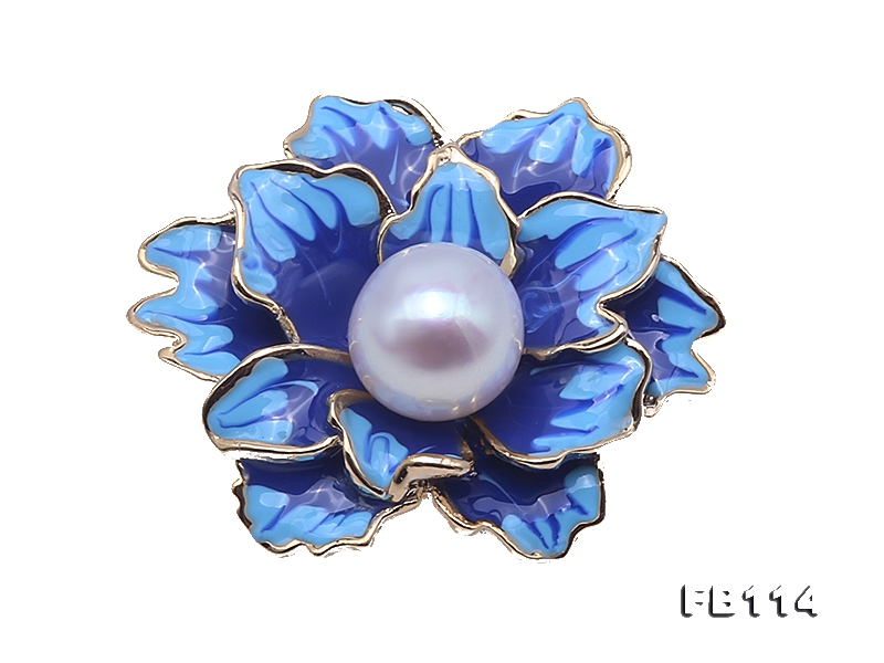 Beautiful 10.5mm White Pearl Blue Peony Brooch