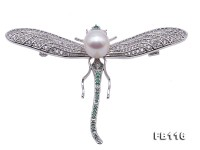 Exquisite Dragonfly-shape 9.5mm Freshwater Pearl Brooch