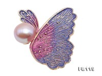 Beautiful 10.5mm Lavender Pearl Butterfly Brooch