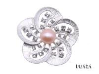 Elegant Flower-shape 11.5mm Freshwater Pearl Brooch