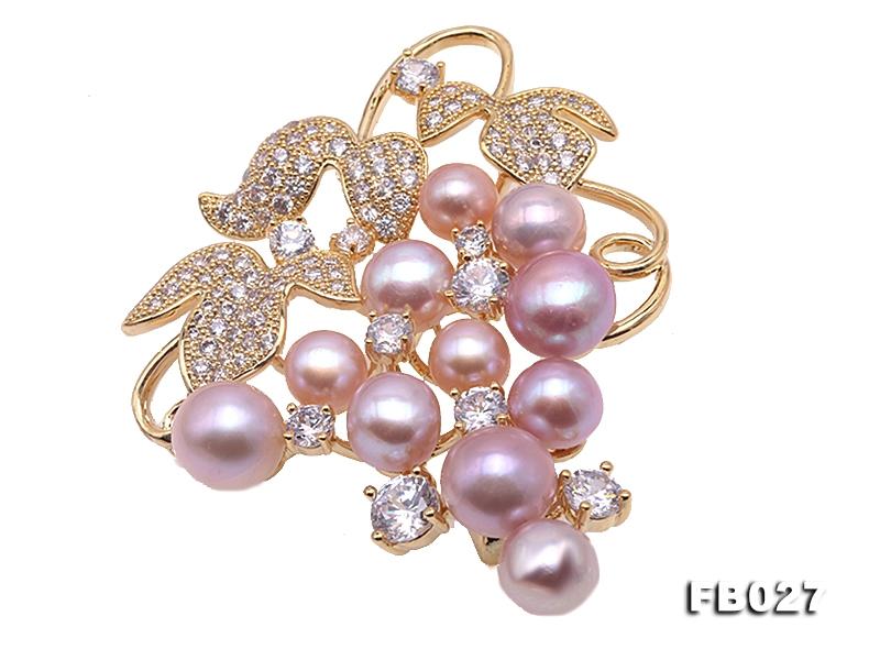 9-9.5mm Lavender Pearl Brooch in Grape Shape