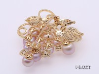9-9.5mm Lavender Pearl Brooch in Grape Shape