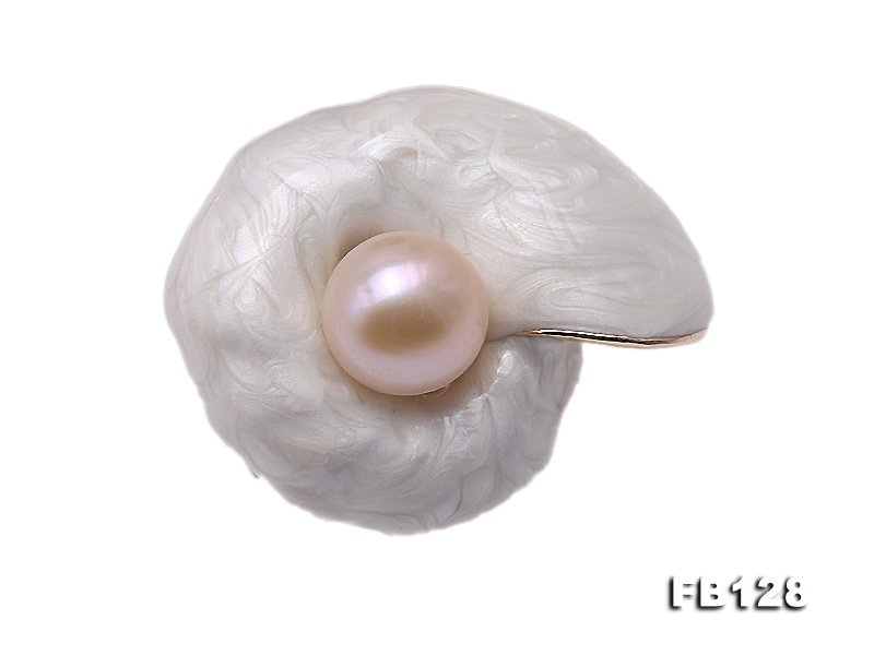 Lovely White Snail-shape 10.2mm Pink Pearl Brooch