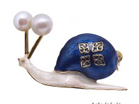 Lovely Blue Snail-shape 6.8mm White Pearl Brooch