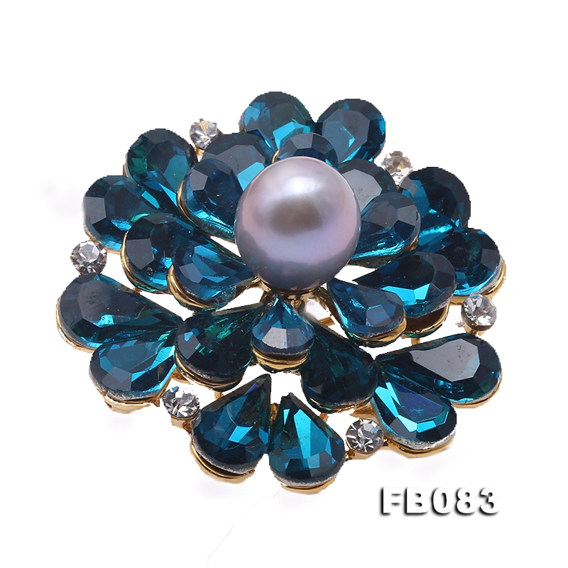 Blue Zircon Flower Brooch with 9.7mm White Pearl