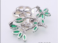 Delicate Shell Flower Green Crystal & 8.3mm Freshwater Pearl Brooch