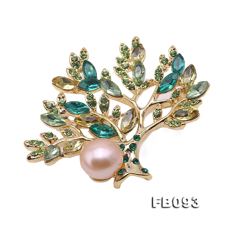 Colorful Zircon Tree & 9.5mm Freshwater Pearl Brooch