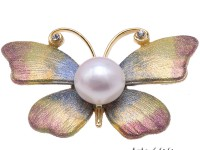 Dreamy 12mm White Pearl Butterfly Brooch