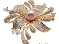 Bright Zircon Flower Brooch with 11mm Lavender Edison Pearl
