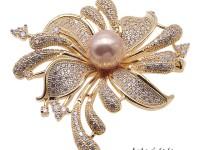Bright Zircon Flower Brooch with 11mm Lavender Edison Pearl