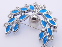 Blue Zircon and 12.5mm White Edison Pearl Brooch