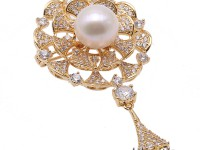 Lovely Mirror-shape Brooch with 12mm White Edison Pearl