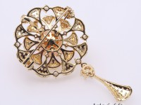 Lovely Mirror-shape Brooch with 11mm Edison Pearl