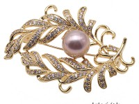 Bright Zircon Brooch with 11.5mm Lavender Edison Pearl