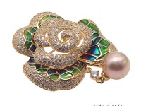Bright Zircon Brooch with 12mm Lavender Edison Pearl