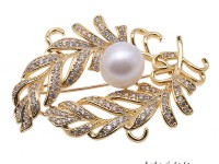Bright Zircon Brooch with 12mm White Edison Pearl