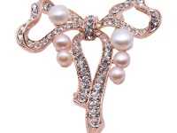 Beautiful Bowknot-shape 5-7.5mm Freshwater Pearl Brooch
