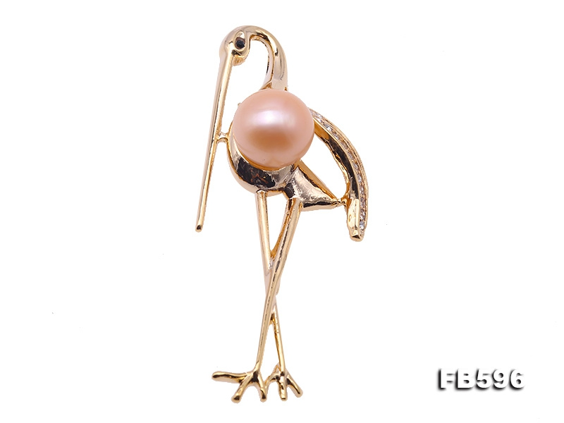Graceful Crane Design 11.5mm Pink Pearl Brooch