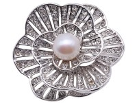 Beautiful Flower-shape 11mm White Pearl Brooch