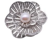 Beautiful Flower-shape 11mm White Pearl Brooch