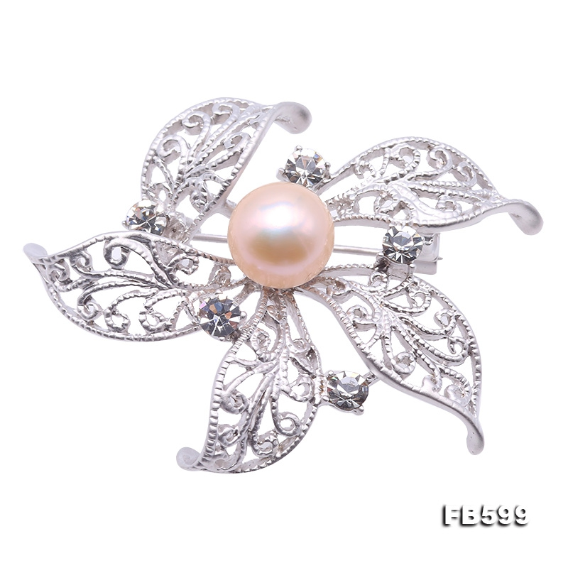 Beautiful Flower-shape 9.5mm PinkPearl Brooch