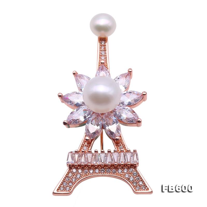 Delicate Zircon-inlaid Eiffel Tower Design 6.5-9.5mm Freshwater Pearl Brooch