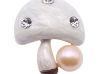 High Quality Mushroom-shape 11.5mm Pink Pearl Brooch