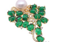 Blue Zircon Green Crystal and 12mm White Edison Pearl Brooch