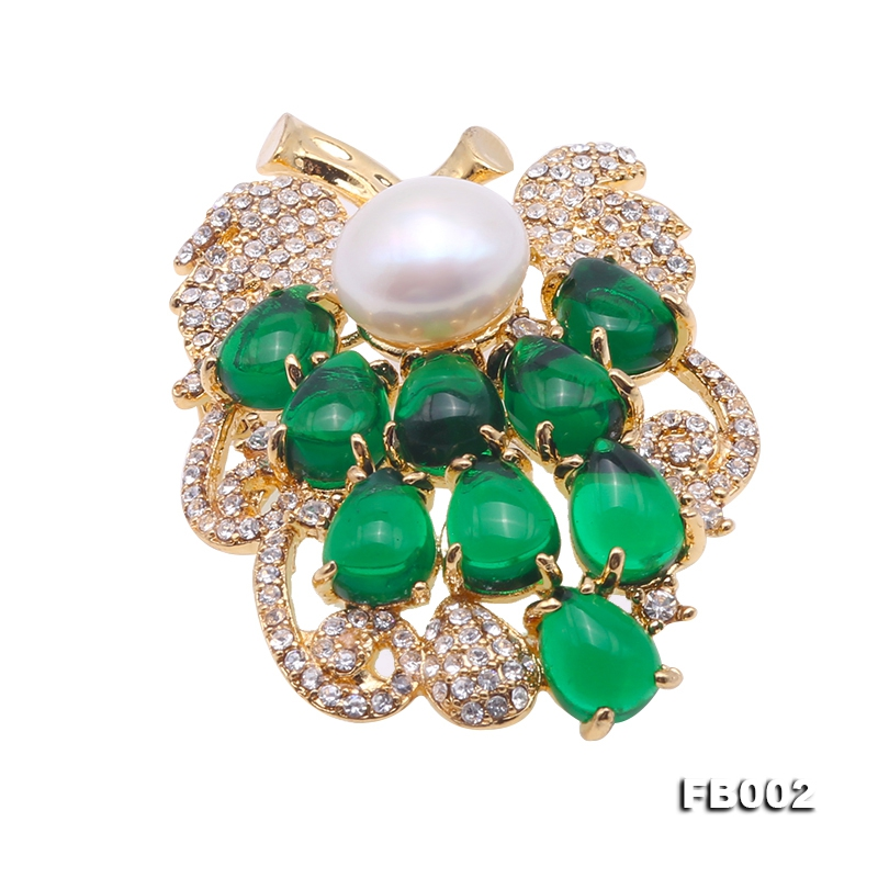 Blue Zircon Green Crystal and 11mm White Edison Pearl Brooch