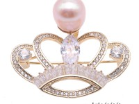 Beautiful Crown-shape 10,5mm Lavender Pearl Brooch