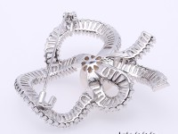 Beautiful Bowknot-shape 12,5mm White Pearl Brooch