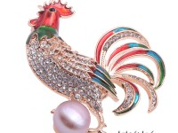 Exquisite 11mm Colorful Rooster Pearl Brooch