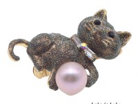 Lovely Cat-shape 10.5mm Pink Pearl Brooch